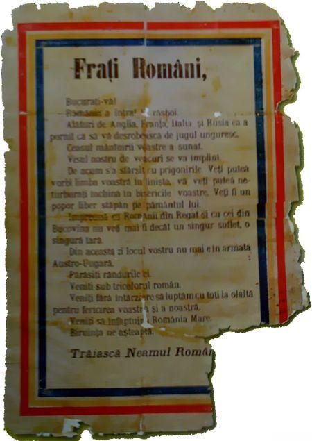 Manifest din august 1916 aruncat din avioanele Armatei Romane peste Brasov