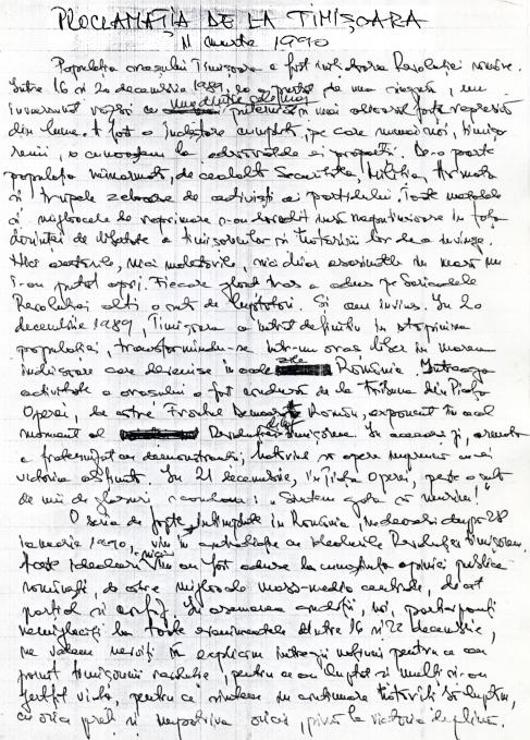 PROCLAMAŢIA DE LA TIMIŞOARA - 11 MARTIE 1990