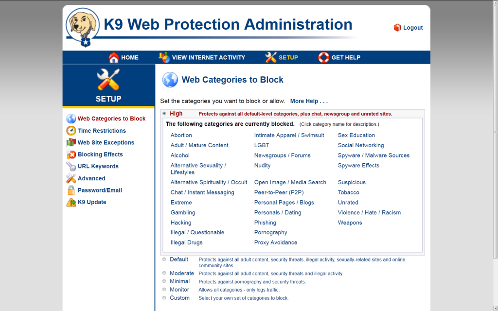 K9 WEB PROTECTION - PANOU CONTROL CATEGORII SITE-URI
