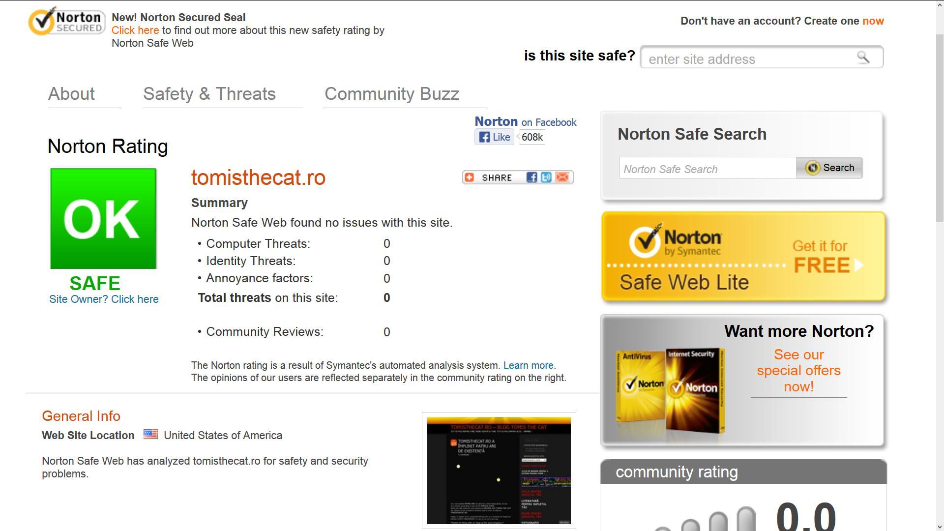 NORTON SAFE WEB CONFIRMA FAPTUL CA BLOGUL TOMISTHECAT.RO ESTE SIGUR SI NU PREZINTA NICIO AMENINTARE