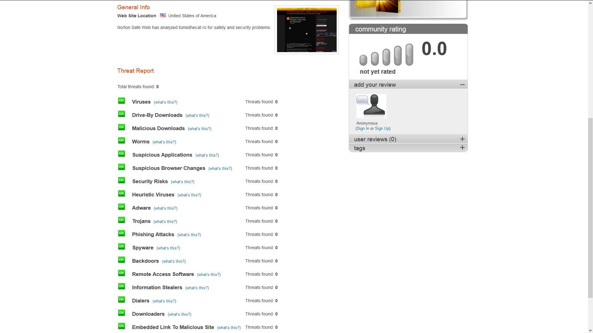 Raport de analiza a blogului tomisthecat.ro intocmit de Norton Safe Web care confirma ca nu exista amenintari de niciun fel