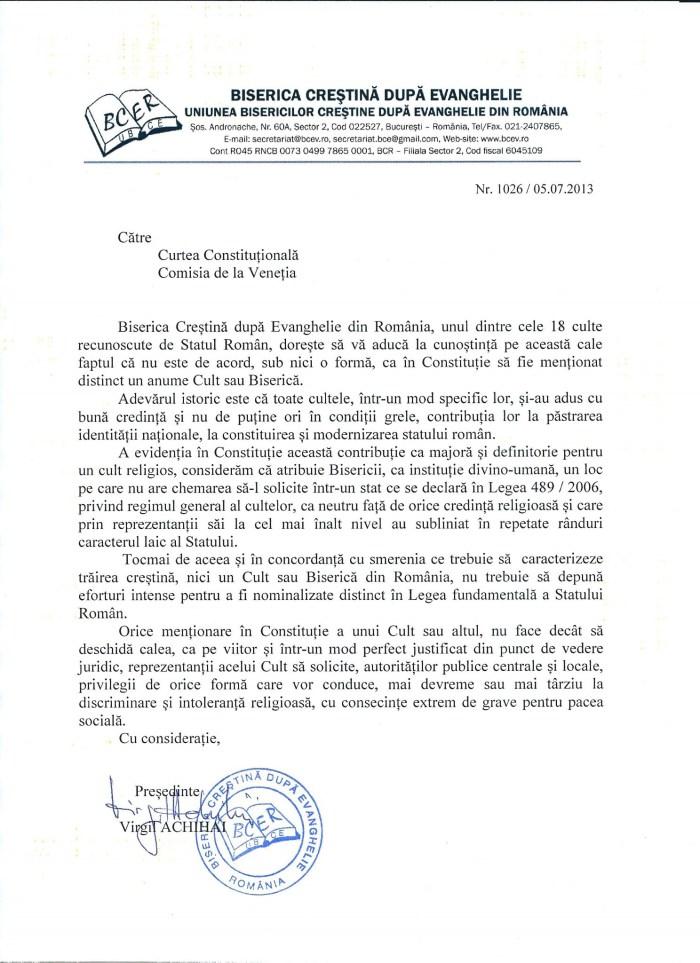 Biserica Crestina dupa Evanghelie s-a adresat Comisiei de la Venetia din cauza nominalizarii preferentiale a Bisericii Ortodoxe in Noua Constitutie