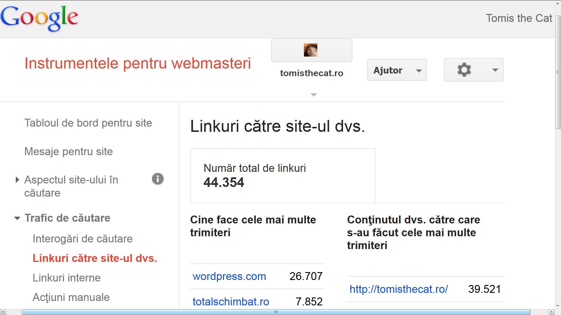 44354 linkuri catre blogul tomisthecat.ro astazi 9 decembrie 2013