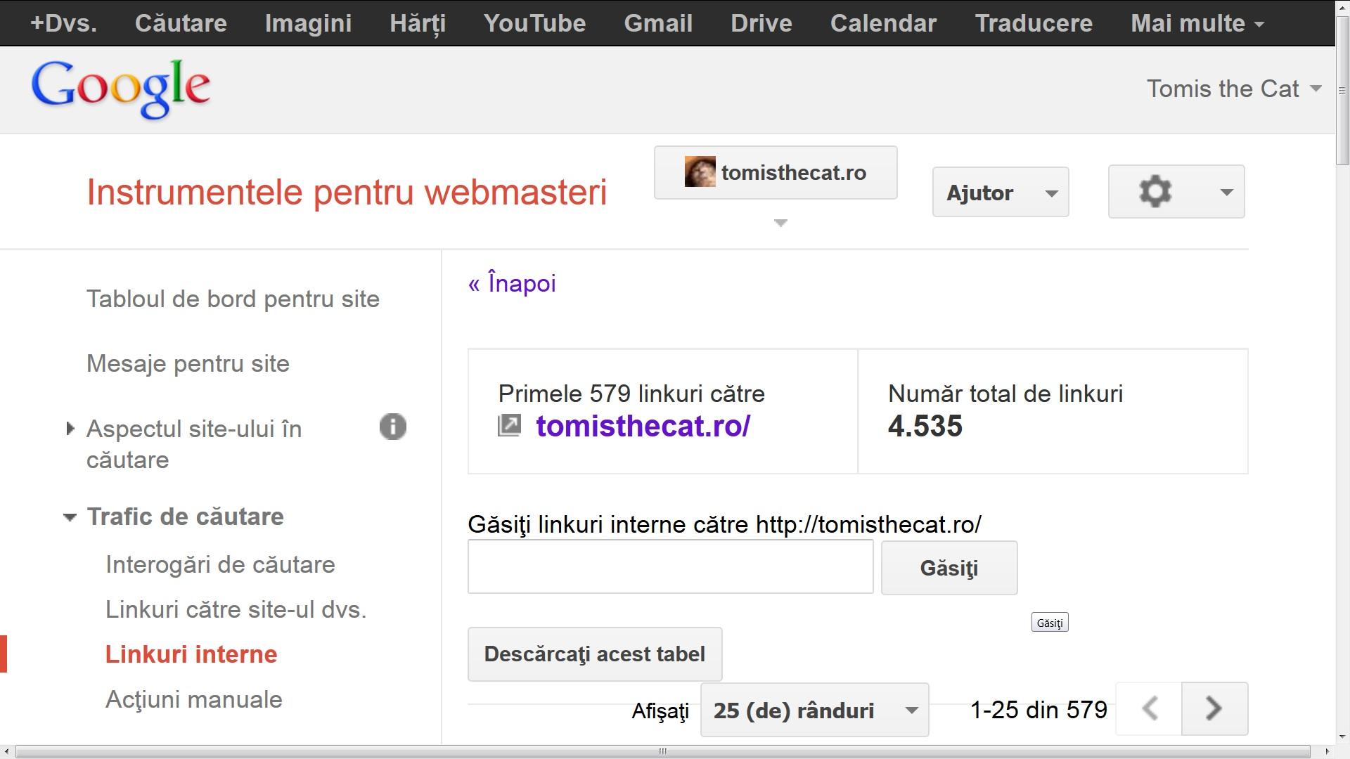 tomisthecat.ro are 4535 linkuri interne astazi 9 decembrie 2013