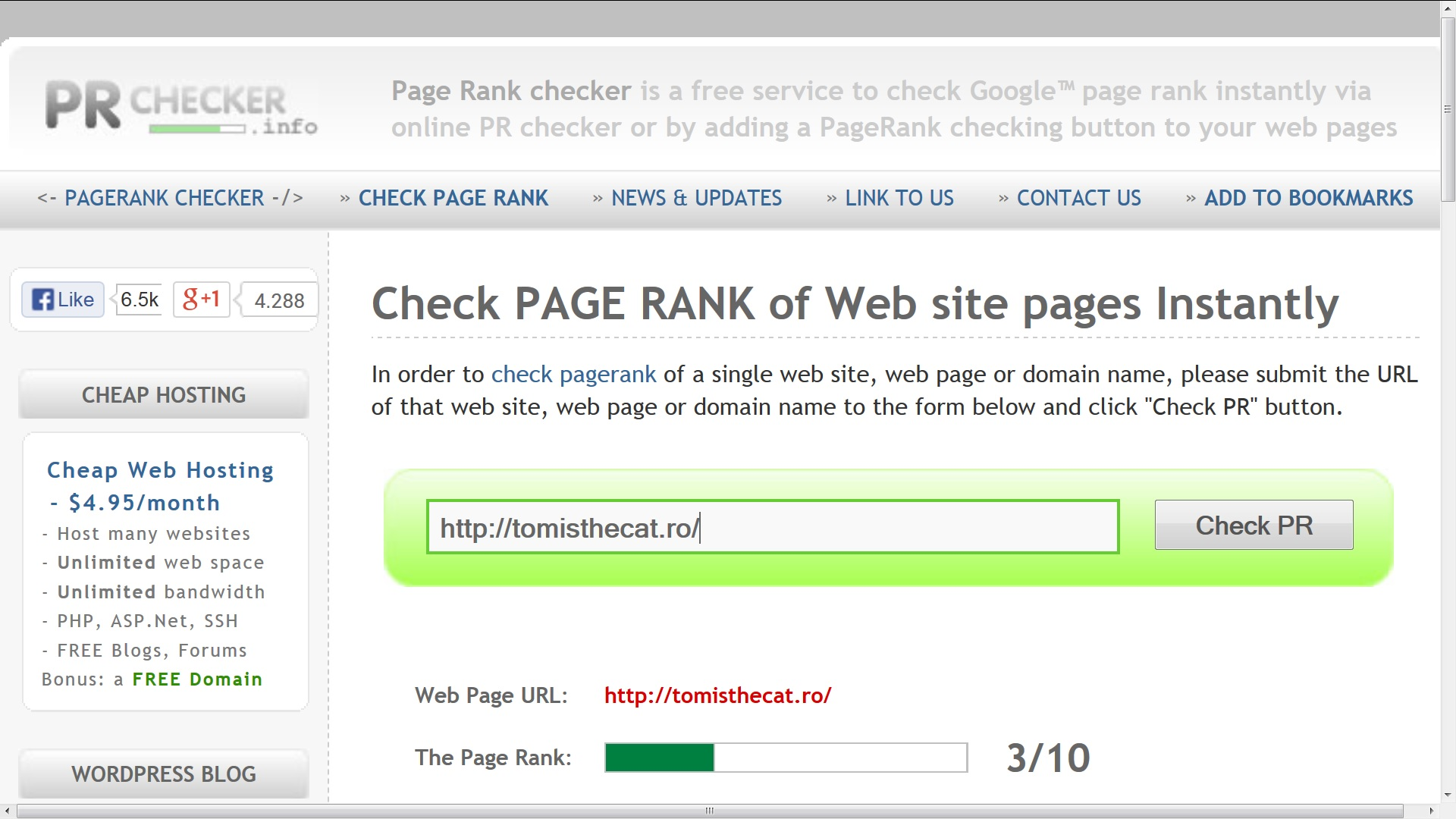 Tomisthecat.ro are page rank 3 astazi 9 decembrie 2013